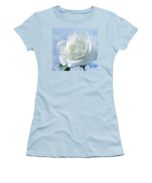 Heavenly White Rose. Women's T-Shirt (Junior Cut) by Terence Davis