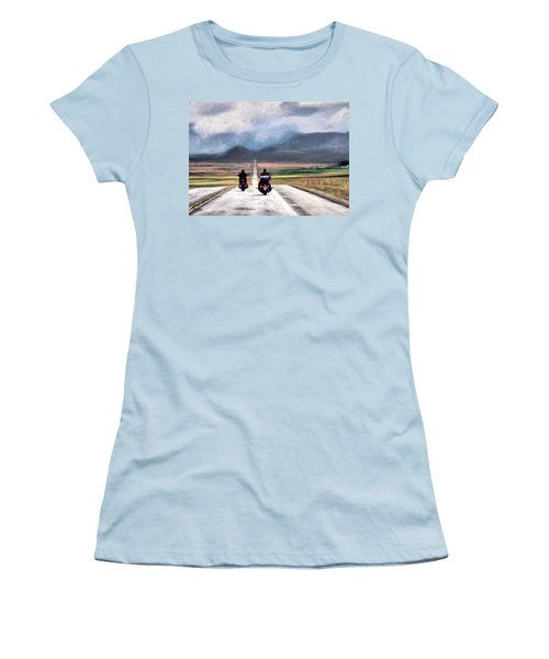 Women's T-Shirt (Junior Cut) featuring the photograph Highway In The Wind by Jim Hill