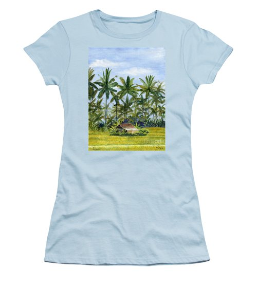 Women's T-Shirt (Junior Cut) featuring the painting Home Bali Ubud Indonesia by Melly Terpening