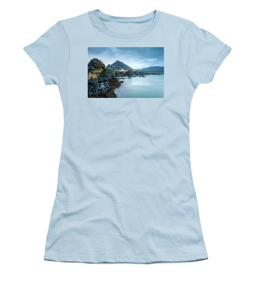 House On Ocean Cliff In Iceland Women's T-Shirt (Athletic Fit)
