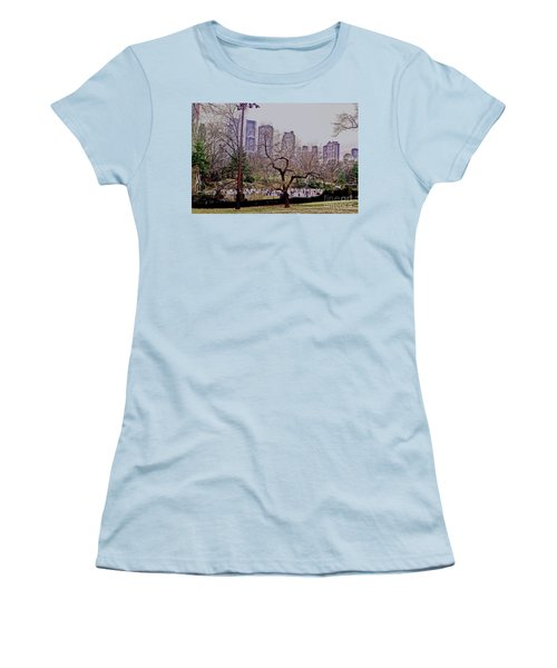 Women's T-Shirt (Junior Cut) featuring the photograph Ice Skaters On Wollman Rink by Sandy Moulder