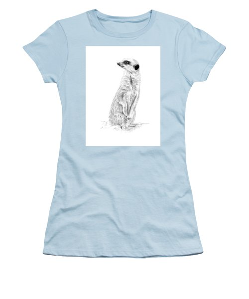 Women's T-Shirt (Athletic Fit) featuring the mixed media Meerkat In Charge by Elizabeth Lock
