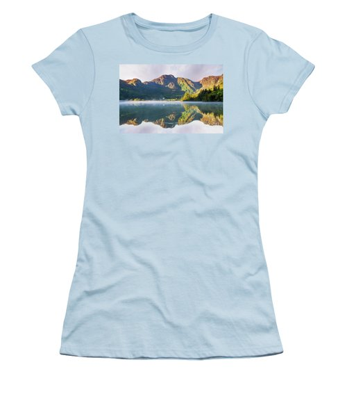 Misty Dawn Lake Women's T-Shirt (Athletic Fit)