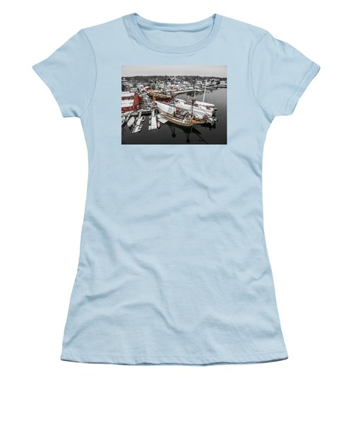 Mystic Seaport In Winter Women's T-Shirt (Athletic Fit)