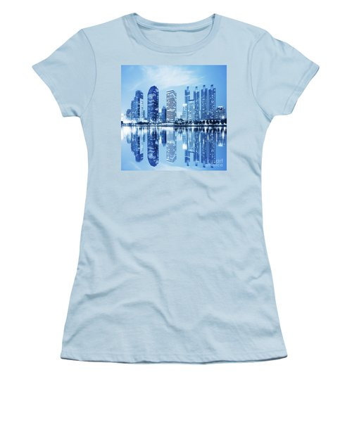 Women's T-Shirt (Junior Cut) featuring the photograph Night Scenes Of City by Setsiri Silapasuwanchai