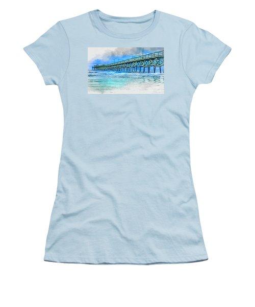 Sea Blue - Cherry Grove Pier Women's T-Shirt (Athletic Fit)