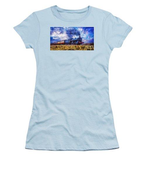 Women's T-Shirt (Junior Cut) featuring the digital art Steam Train by Ian Mitchell