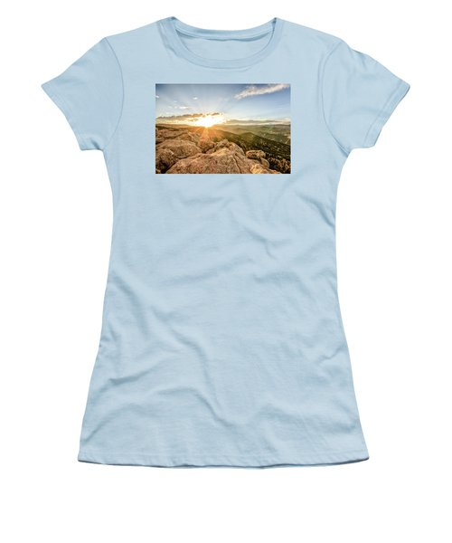 Sunset Over The Mountains Of Flaggstaff Road In Boulder, Colorad Women's T-Shirt (Junior Cut) by Peter Ciro