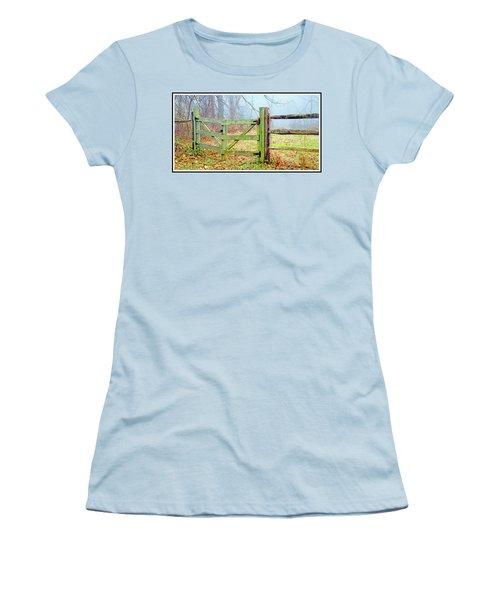 Wooden Fence On A Foggy Morning Women's T-Shirt (Junior Cut) by A Gurmankin