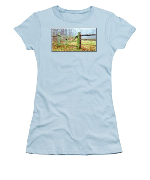 Wooden Fence On A Foggy Morning Women's T-Shirt (Athletic Fit)