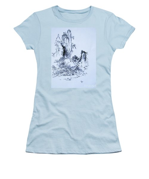 Women's T-Shirt (Junior Cut) featuring the painting Yama No Fukei by Roberto Prusso