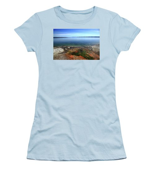 Women's T-Shirt (Junior Cut) featuring the photograph Yellowstone Lake Colors by Frank Romeo