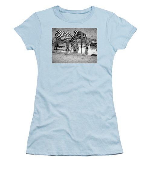 Zebras At The Watering Hole Women's T-Shirt (Junior Cut) by Marion McCristall