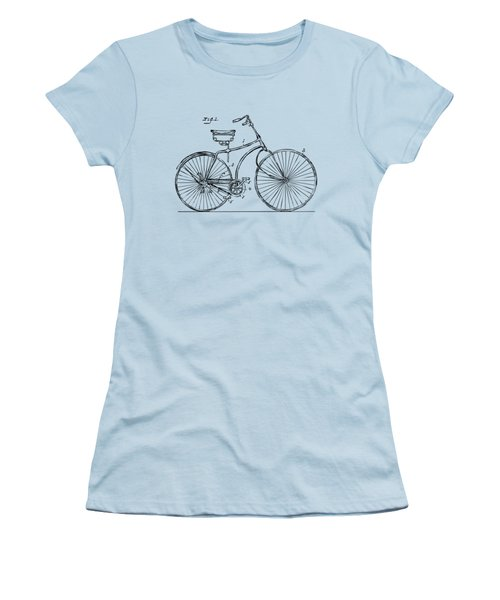 Women's T-Shirt (Junior Cut) featuring the drawing 1890 Bicycle Patent Minimal - Vintage by Nikki Marie Smith