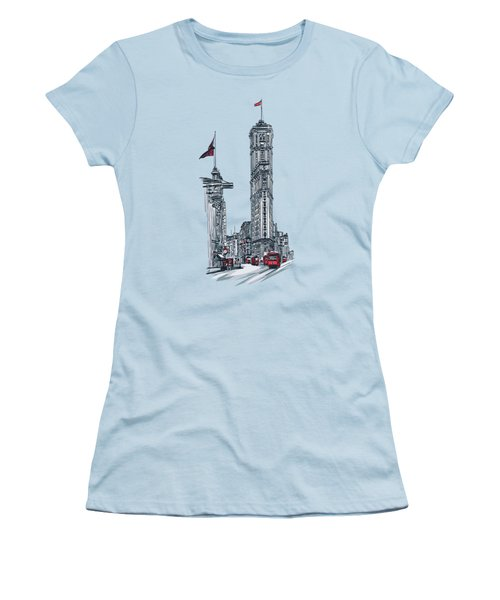 Women's T-Shirt (Junior Cut) featuring the painting 1908 Times Square,ny by Andrzej Szczerski