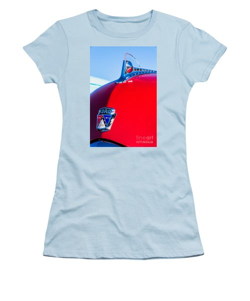 Women's T-Shirt (Junior Cut) featuring the photograph 1950 Ford Hood Ornament by Aloha Art