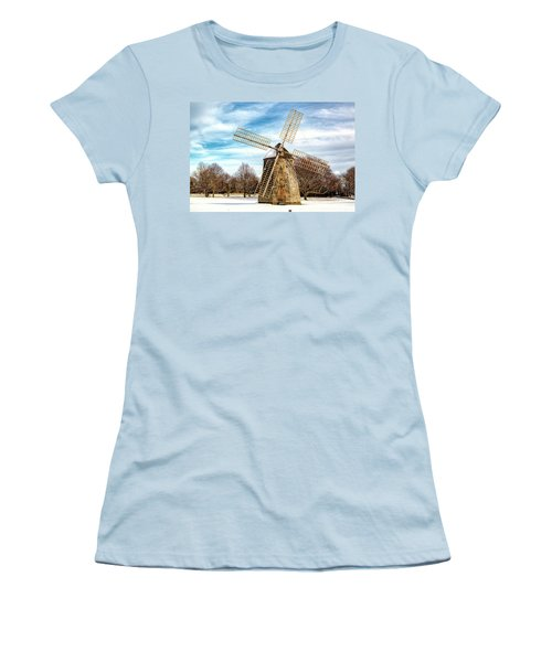 Women's T-Shirt (Junior Cut) featuring the photograph Corwith Windmill Long Island Ny Cii by Susan Candelario