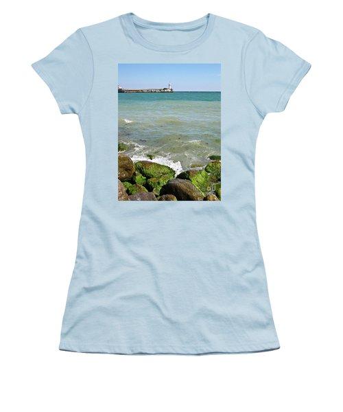 Lighthouse In Sea Women's T-Shirt (Junior Cut) by Irina Afonskaya