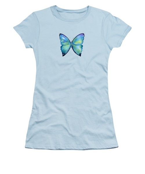 2 Morpho Aega Butterfly Women's T-Shirt (Junior Cut) by Amy Kirkpatrick