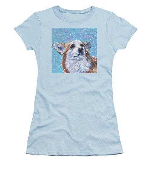 Women's T-Shirt (Junior Cut) featuring the painting Pembroke Welsh Corgi by Lee Ann Shepard
