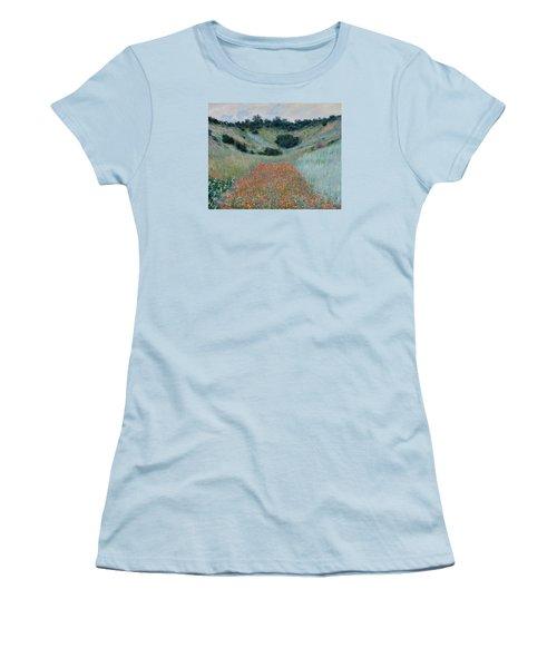 Poppy Field In A Hollow Near Giverny Women's T-Shirt (Junior Cut) by Claude Monet