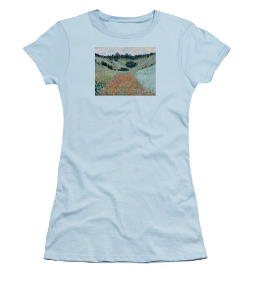 Poppy Field In A Hollow Near Giverny Women's T-Shirt (Athletic Fit)
