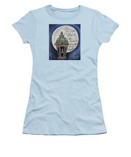 Women's T-Shirt (Junior Cut) featuring the painting Shine Your Light by Elizabeth Robinette Tyndall