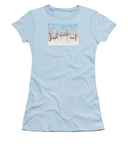 Winter Landscape, Painting Women's T-Shirt (Junior Cut) by Irina Afonskaya