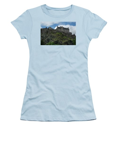 Women's T-Shirt (Athletic Fit) featuring the photograph Edinburgh Castle In Scotland by Jeremy Lavender Photography