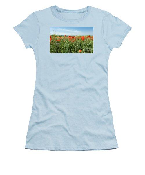 Meadow With Red Poppies Women's T-Shirt (Junior Cut) by Irina Afonskaya