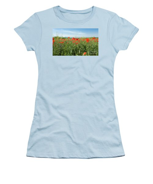 Meadow With Red Poppies Women's T-Shirt (Athletic Fit)