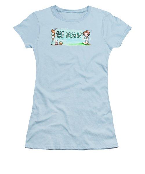 420 Vegans Women's T-Shirt (Junior Cut) by Lizzy Love