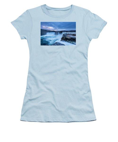 Godafoss Waterfall In Iceland Women's T-Shirt (Junior Cut) by Joe Belanger