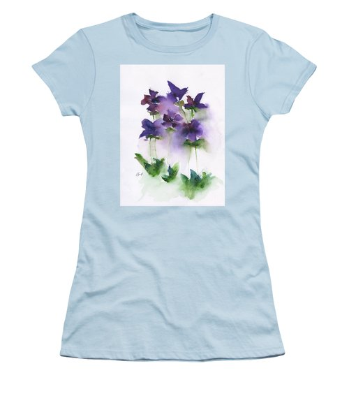 6 Violets Abstract Women's T-Shirt (Athletic Fit)