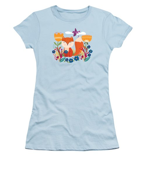 A Fox In The Flowers With A Flying Feathered Friend Women's T-Shirt (Athletic Fit)