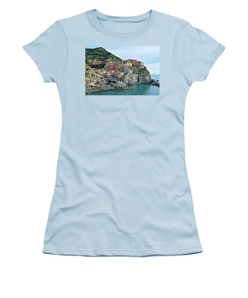 Women's T-Shirt (Junior Cut) featuring the photograph A Manarola Morning by Frozen in Time Fine Art Photography