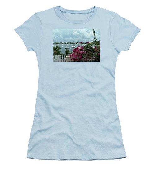 A St Maarten Marina Women's T-Shirt (Junior Cut) by Carol  Bradley