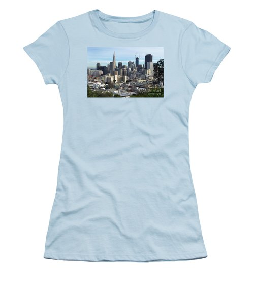 Women's T-Shirt (Junior Cut) featuring the photograph A View Of Downtown From Nob Hill by Steven Spak