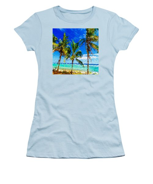 Abstract Beach Palmettos Women's T-Shirt (Junior Cut) by Anthony Fishburne