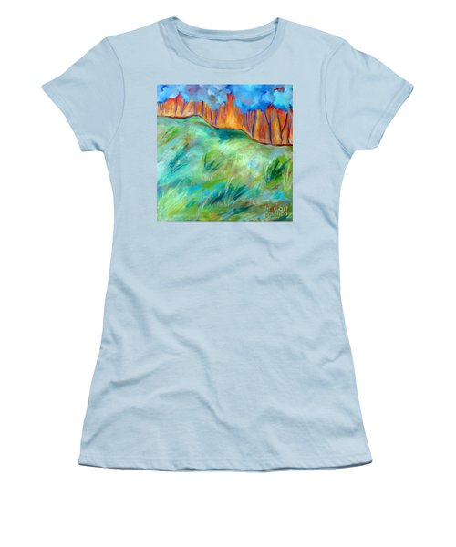Across The Meadow Women's T-Shirt (Junior Cut) by Elizabeth Fontaine-Barr