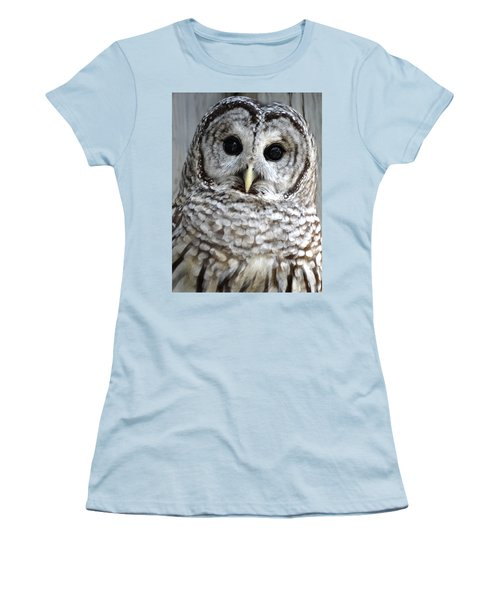 Adorable Barred Owl  Women's T-Shirt (Junior Cut) by Rebecca Overton