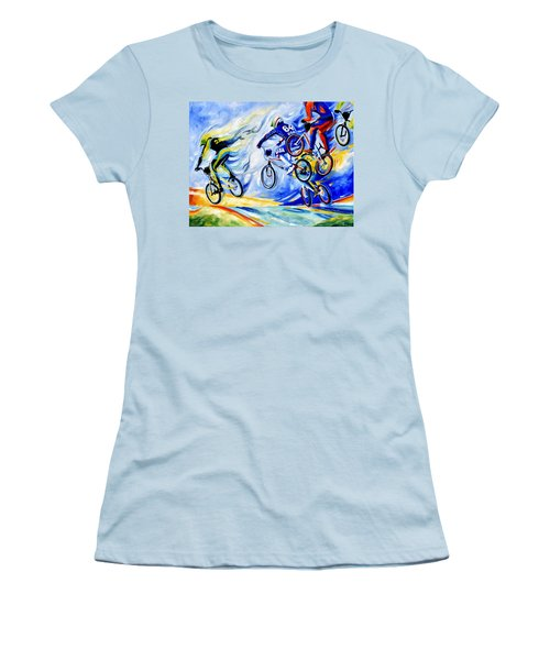 Women's T-Shirt (Athletic Fit) featuring the painting Airborne by Hanne Lore Koehler