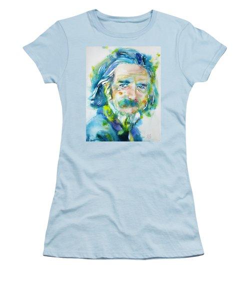 Women's T-Shirt (Junior Cut) featuring the painting Alan Watts - Watercolor Portrait.4 by Fabrizio Cassetta