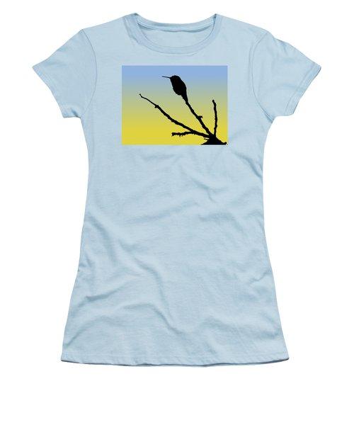 Allen's Hummingbird Silhouette At Sunrise Women's T-Shirt (Athletic Fit)