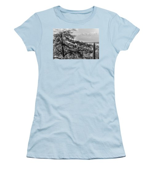 Ancient Walls Of Florence-bandw Women's T-Shirt (Athletic Fit)