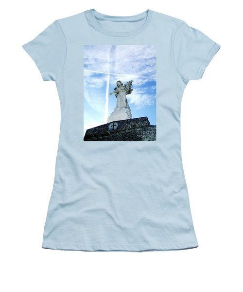 Angel And Crosses Women's T-Shirt (Athletic Fit)