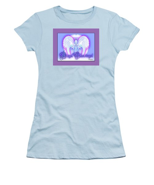 Women's T-Shirt (Athletic Fit) featuring the digital art Angel Blessings #196 by Barbara Tristan