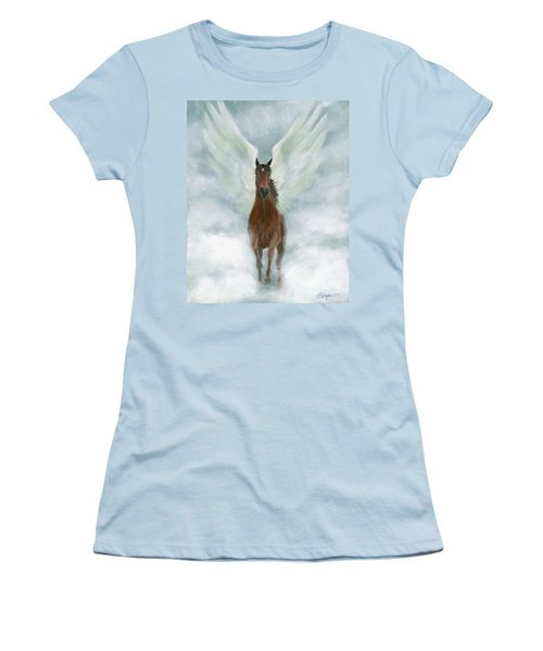Angel Horse Running Free Across The Heavens Women's T-Shirt (Athletic Fit)