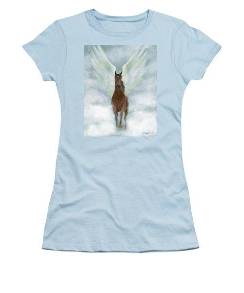 Angel Horse Running Free Across The Heavens Women's T-Shirt (Junior Cut)