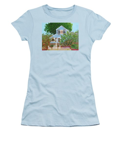 Women's T-Shirt (Junior Cut) featuring the painting Antique Shop, Cambria Ca by Katherine Young-Beck